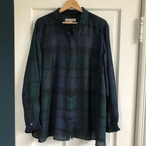 Loft Plus Blue/Green Plaid Button-Down Blouse, 22